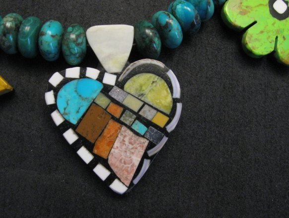Image 3 of One of a kind Santo Domingo  Mosaic Inlay Turquoise Bead Necklace, Mary Tafoya