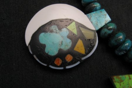 Image 5 of One of a kind Santo Domingo  Mosaic Inlay Turquoise Bead Necklace, Mary Tafoya