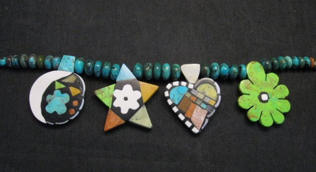 Image 6 of One of a kind Santo Domingo  Mosaic Inlay Turquoise Bead Necklace, Mary Tafoya