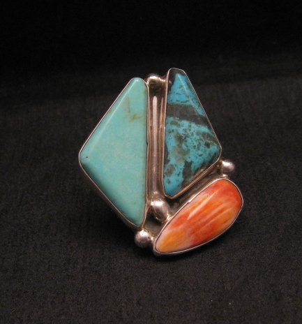 Image 0 of One of a Kind Turquoise Spiny Oyster Adjustable Ring by Adam Fierro sz6-9