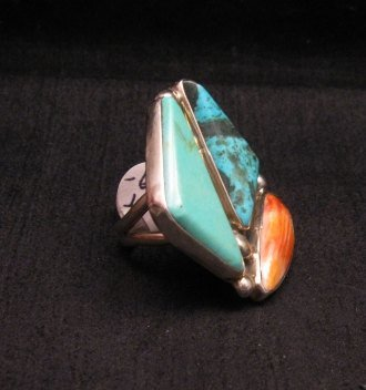 Image 2 of One of a Kind Turquoise Spiny Oyster Adjustable Ring by Adam Fierro sz6-9