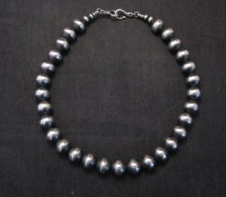 Native American 12mm Bead Navajo Pearls Sterling Silver Necklace 16-inch long