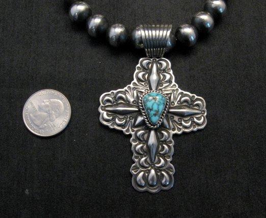 Image 2 of Native American Turquoise Cross Pendant, Darryl Becenti