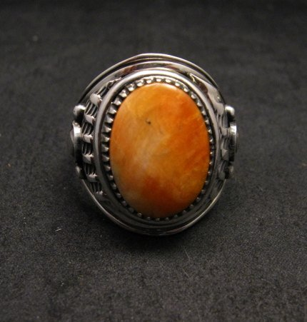 Image 0 of Derrick Gordon Navajo Spiny Oyster Sterling Silver Ring sz12-3/4