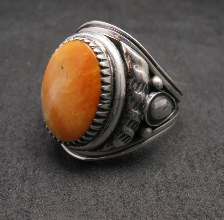Image 1 of Derrick Gordon Navajo Spiny Oyster Sterling Silver Ring sz12-3/4