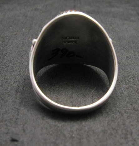 Image 4 of Derrick Gordon Navajo Spiny Oyster Sterling Silver Ring sz12-3/4