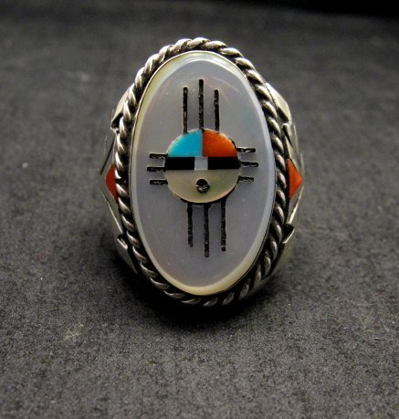 Image 0 of Jeremy Hustito Zuni Native American Zia Sunface Mens Ring Sz11-1/2