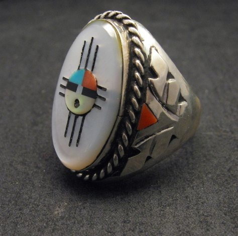 Image 1 of Jeremy Hustito Zuni Native American Zia Sunface Mens Ring Sz11-1/2