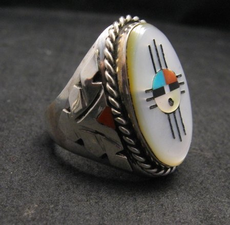 Image 2 of Jeremy Hustito Zuni Native American Zia Sunface Mens Ring Sz11-1/2