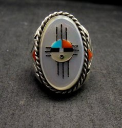 Jeremy Hustito Zuni Native American Zia Sunface Mens Ring Sz11-1/2