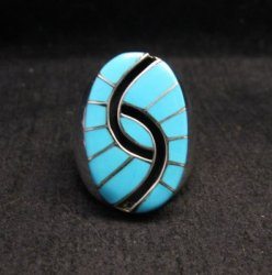 Large Amy Quandelacy Zuni Turquoise Hummingbird Sterling Silver Ring sz10