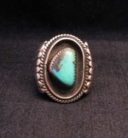 Image 0 of Big Vintage Native American Turquoise Silver Shadowbox Ring sz14