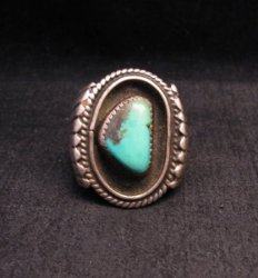 Big Vintage Native American Turquoise Silver Shadowbox Ring sz14