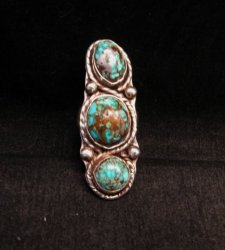Vintage Native American 3-stone Turquoise Silver Ring sz8
