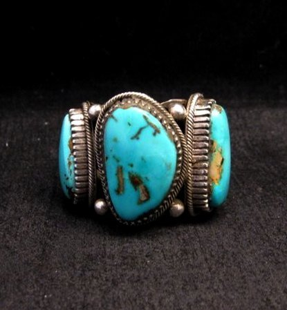 Image 0 of Heavy Navajo Native American Turquoise Silver Ring sz10-1/2 Richard Jim
