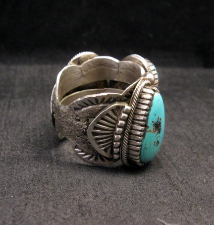Image 1 of Heavy Navajo Native American Turquoise Silver Ring sz10-1/2 Richard Jim