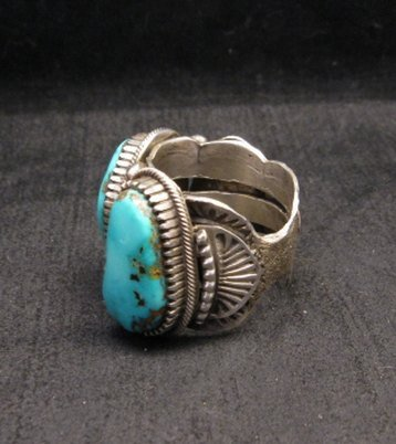 Image 2 of Heavy Navajo Native American Turquoise Silver Ring sz10-1/2 Richard Jim