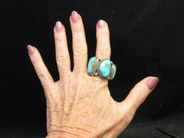 Image 6 of Heavy Navajo Native American Turquoise Silver Ring sz10-1/2 Richard Jim