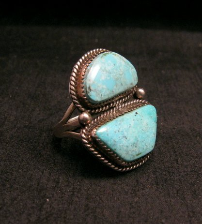 Image 1 of Native American Navajo Candelaria Turquoise Ring sz7-1/2 La Rose Ganadonegro
