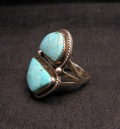Image 2 of Native American Navajo Candelaria Turquoise Ring sz7-1/2 La Rose Ganadonegro
