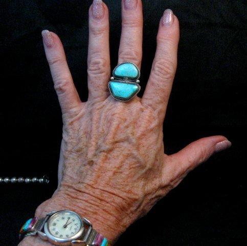 Image 4 of Native American Navajo Candelaria Turquoise Ring sz7-1/2 La Rose Ganadonegro
