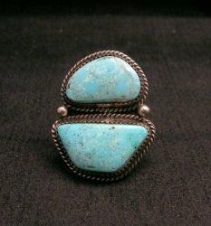 Native American Navajo Candelaria Turquoise Ring sz7-1/2 La Rose Ganadonegro