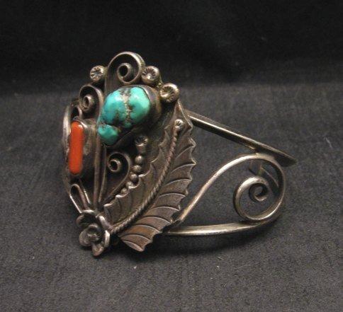 Image 1 of Vintage Navajo Native American Turquoise Coral Silver Bracelet D&J Clark