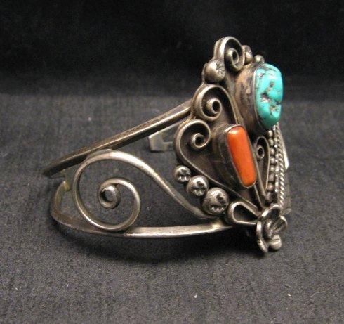 Image 2 of Vintage Navajo Native American Turquoise Coral Silver Bracelet D&J Clark