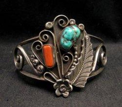 Vintage Navajo Native American Turquoise Coral Silver Bracelet D&J Clark