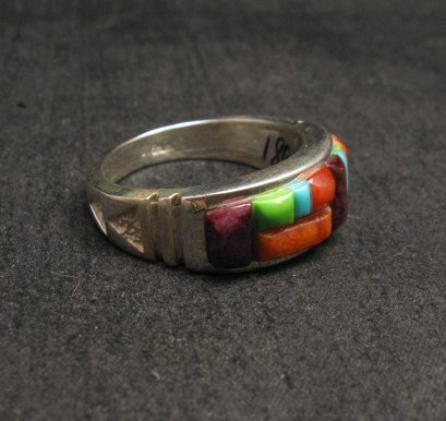 Image 0 of Native American Navajo Cobblestone Inlay Band Ring Sz11, Rick Tolino