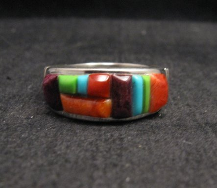 Image 1 of Native American Navajo Cobblestone Inlay Band Ring Sz11, Rick Tolino