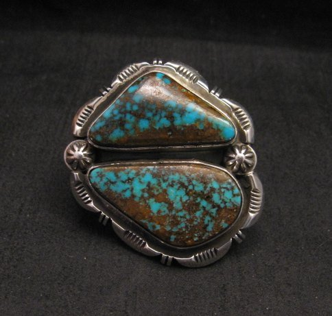 Image 0 of *WOW* Persian Turquoise Navajo Native American Silver Ring Dean Sandoval sz7