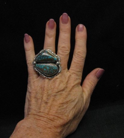 Image 1 of *WOW* Persian Turquoise Navajo Native American Silver Ring Dean Sandoval sz7