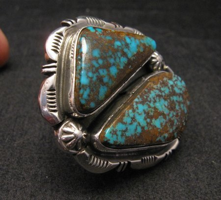 Image 2 of *WOW* Persian Turquoise Navajo Native American Silver Ring Dean Sandoval sz7