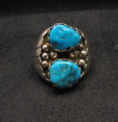 Navajo Indian Turquoise Sterling Silver Ring sz10-7/8, Marlene Martinez
