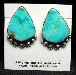 Native American Rosella Sandoval Navajo Turquoise Silver Earrings