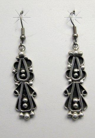 Image 0 of Long Navajo Lorena Johnathan Nez Sterling Silver Dangle Earrings