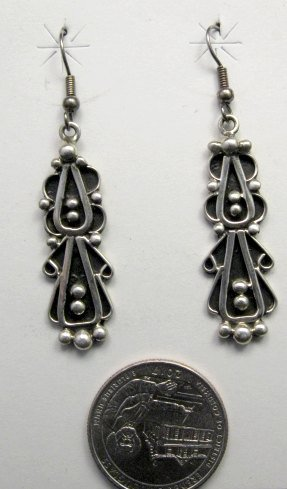 Image 1 of Long Navajo Lorena Johnathan Nez Sterling Silver Dangle Earrings