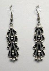 Long Navajo Lorena Johnathan Nez Sterling Silver Dangle Earrings