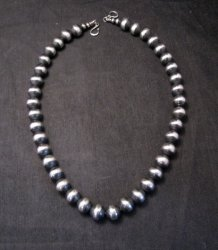 Native American 12mm Bead Navajo Pearls Sterling Silver Necklace 20-inch long