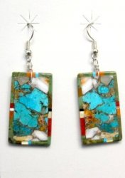 Colorful Santo Domingo Kewa Inlaid Slab Earrings, Daniel Coriz