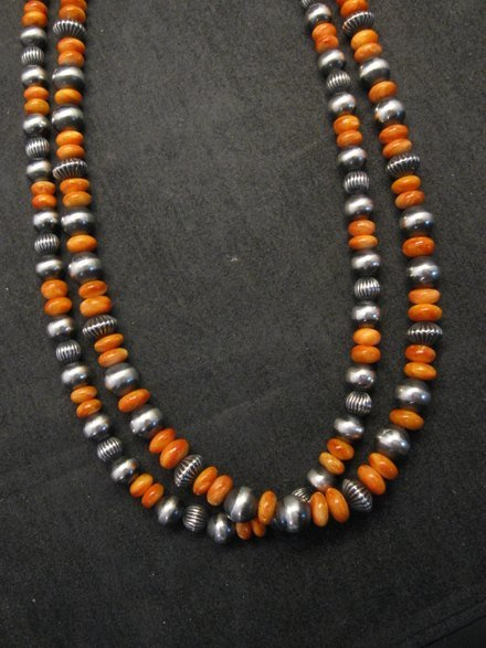 Image 1 of Navajo Spiny Oyster Sterling Silver Bead Necklace 22 inches Marilyn Platero