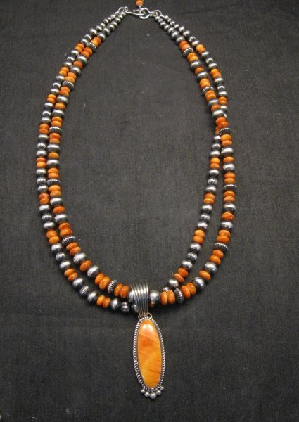 Image 3 of Navajo Spiny Oyster Sterling Silver Bead Necklace 22 inches Marilyn Platero