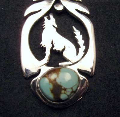 Image 1 of Navajo Sterling Silver Turquoise Wolf/Coyote Pendant, Freddy Charley