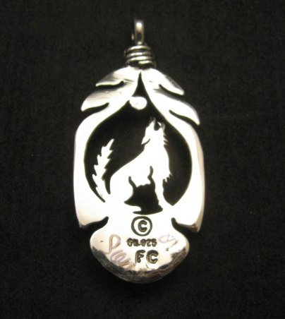 Image 2 of Navajo Sterling Silver Turquoise Wolf/Coyote Pendant, Freddy Charley
