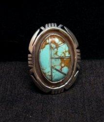 Native American Turquoise Adjustable Ring, Raquel & Leonard Harley, sz6 - 9