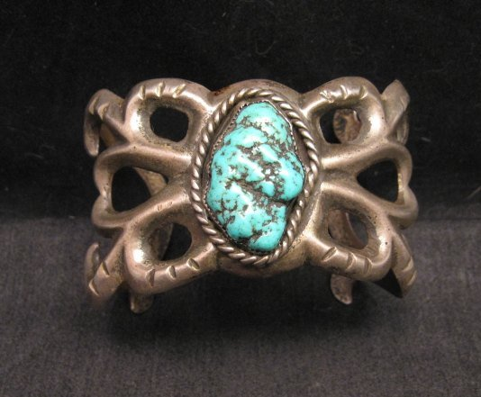 Image 0 of Vintage Navajo Native American Sandcast Silver Turquoise Bracelet
