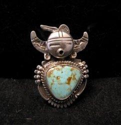 Kachina Navajo Kingman Turquoise Silver Ring Bennie Ration sz7-1/2