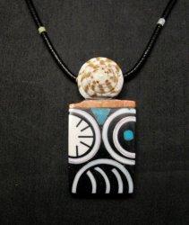 Large Santo Domingo Kewa Mosaic Inlay Pendant Necklace, Mary Tafoya