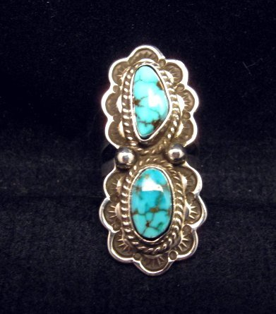 Image 0 of Native American Navajo Double Kingman Turquoise Ring sz6-1/2, D Delgarito